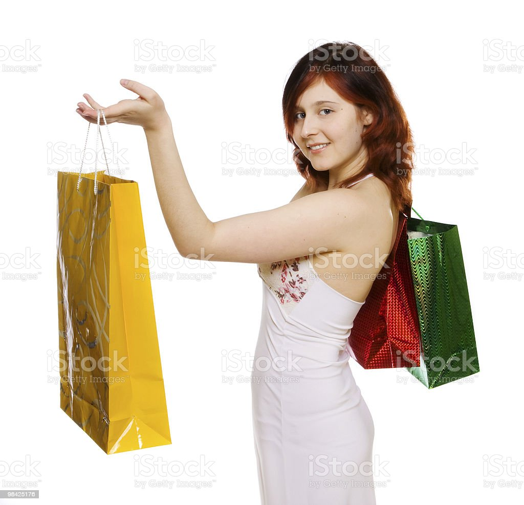 young woman goes shopping royalty-free stock photo