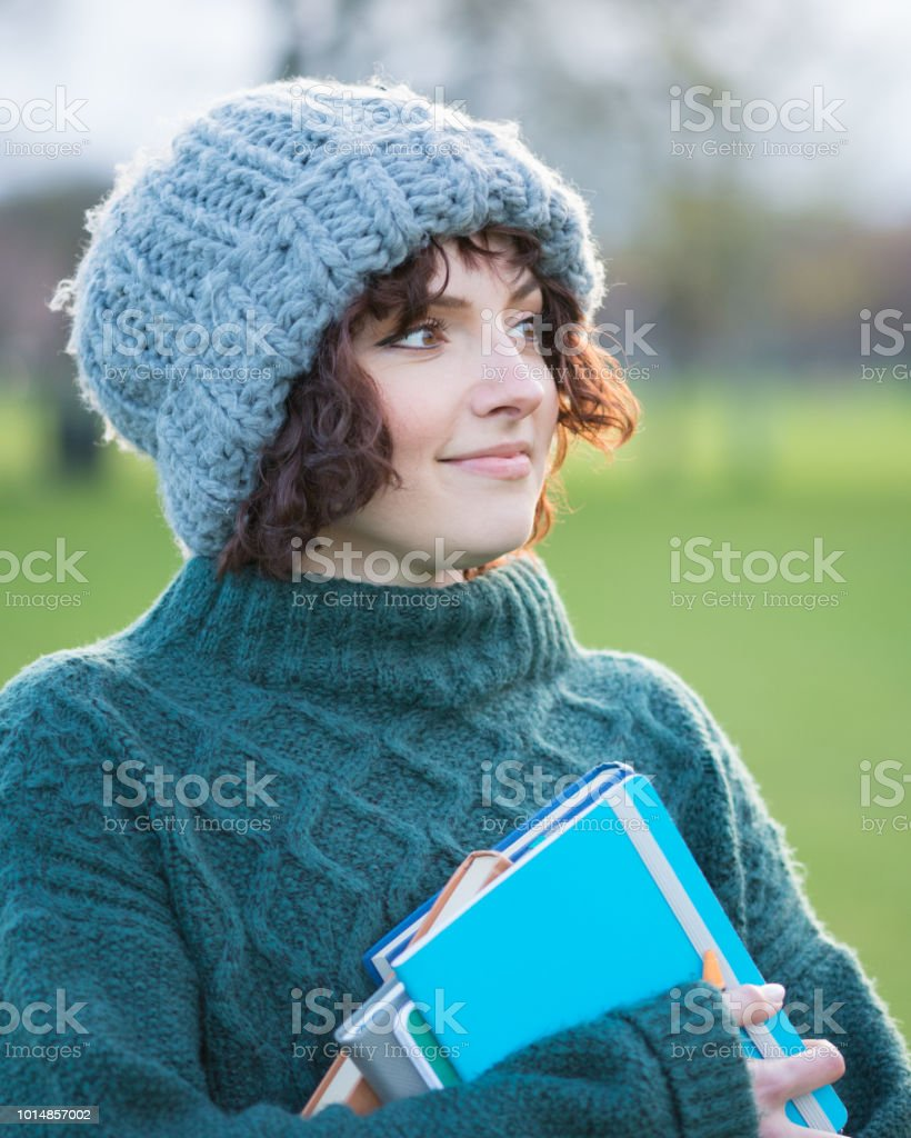 Young Woman Going Back to School stock photo