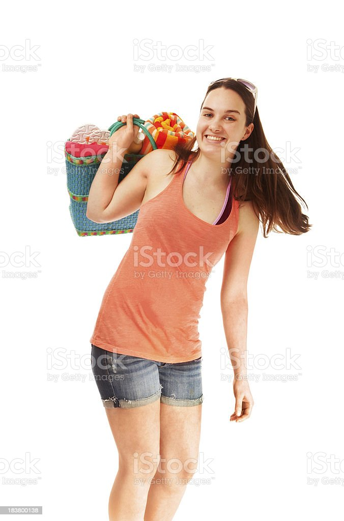 Young Woman Going to Beach for Spring Break, on White stock photo
