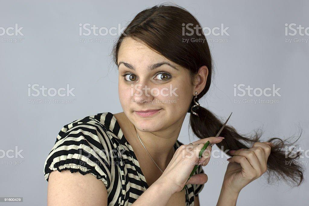 Junge Frau Um Ihre Langen Haare Schneiden Stockfoto Und Mehr Bilder
