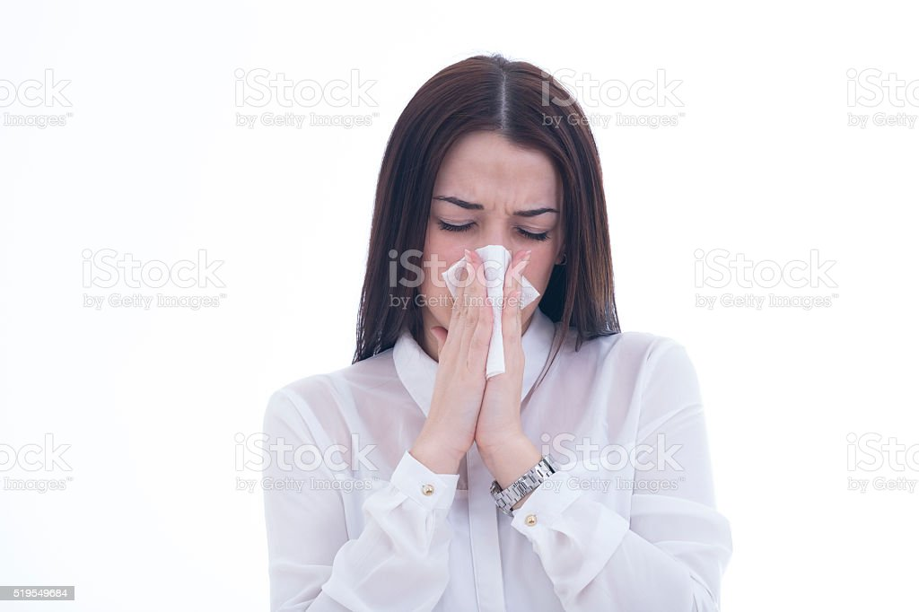 Young woman got sick and flu on white background stock photo