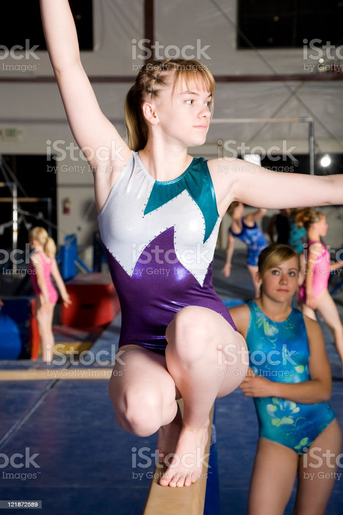 Young Woman Gymnast in a Gym royalty-free stock photo
