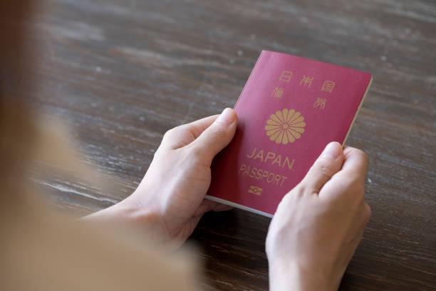 パスポートを持つ若い女性の手 - パスポート ストックフォトと画像