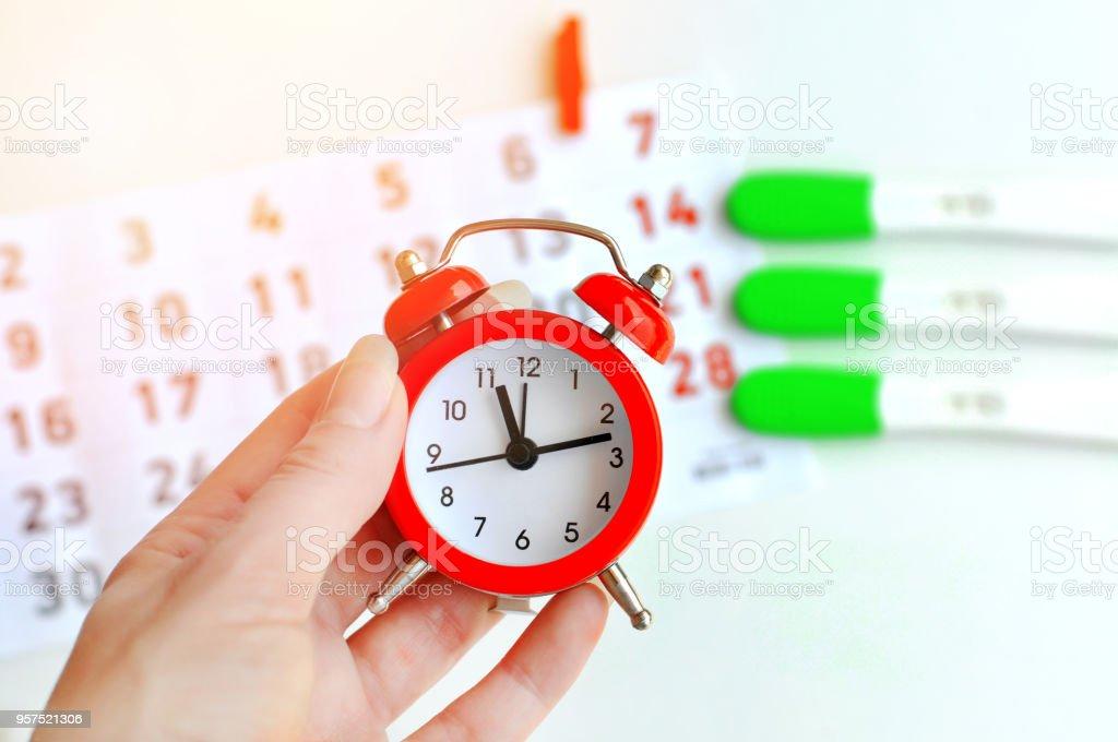 Mujer joven mano tira de prueba de ovulación rojo reloj con calendario en el fondo. Resultado positivo. Es un momento para el bebé. Concepto de Ginecología - foto de stock