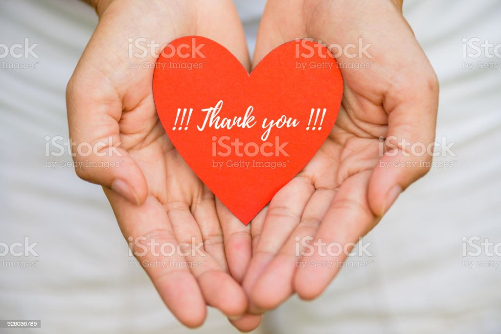 Young woman hand holding red heart paper with THANK YOU message. Thankful concept. stock photo