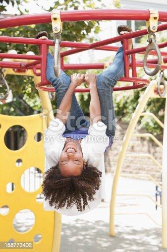 istock Young woman hanging n monkey bars 155773402