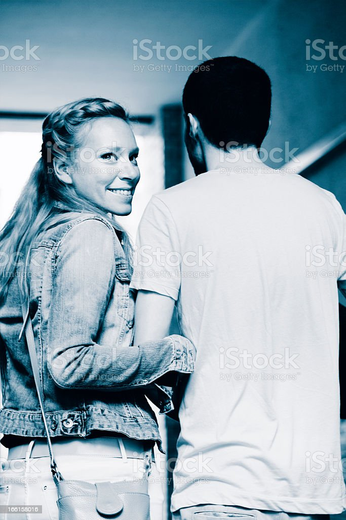 Young Woman Happy with Boyfriend Cyanotype royalty-free stock photo
