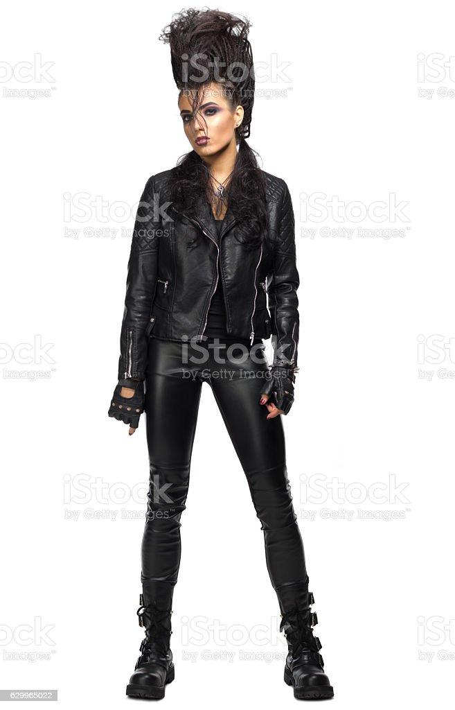 Young woman hard rock artist stock photo