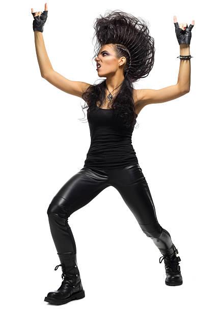 young woman hard rock artist - ausgefallene mode für mollige stock-fotos und bilder