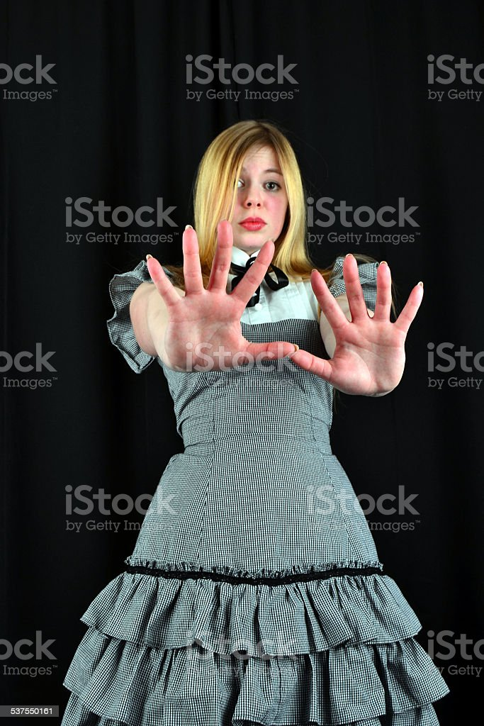 Young woman has the fear stock photo