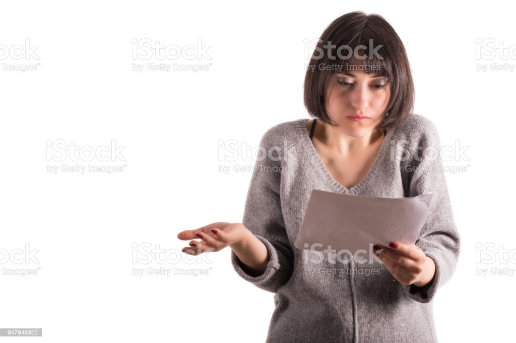 Young Woman Having a Confused Reaction to Results stock photo