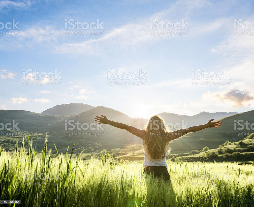 young woman having a fresh morning outdoor stock photo