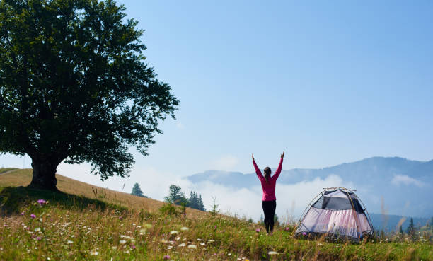 junge frau, die sich erholend in der nähe von touristischen zelt sommer morgens in den bergen - zelt stehhöhe stock-fotos und bilder