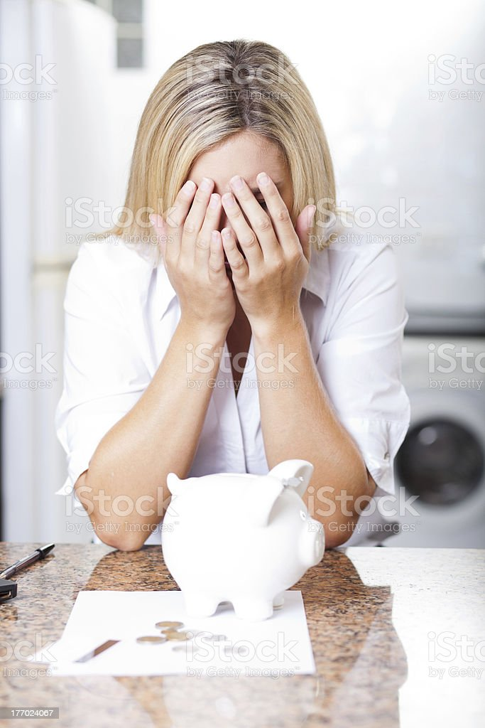 young woman having financial trouble royalty-free stock photo