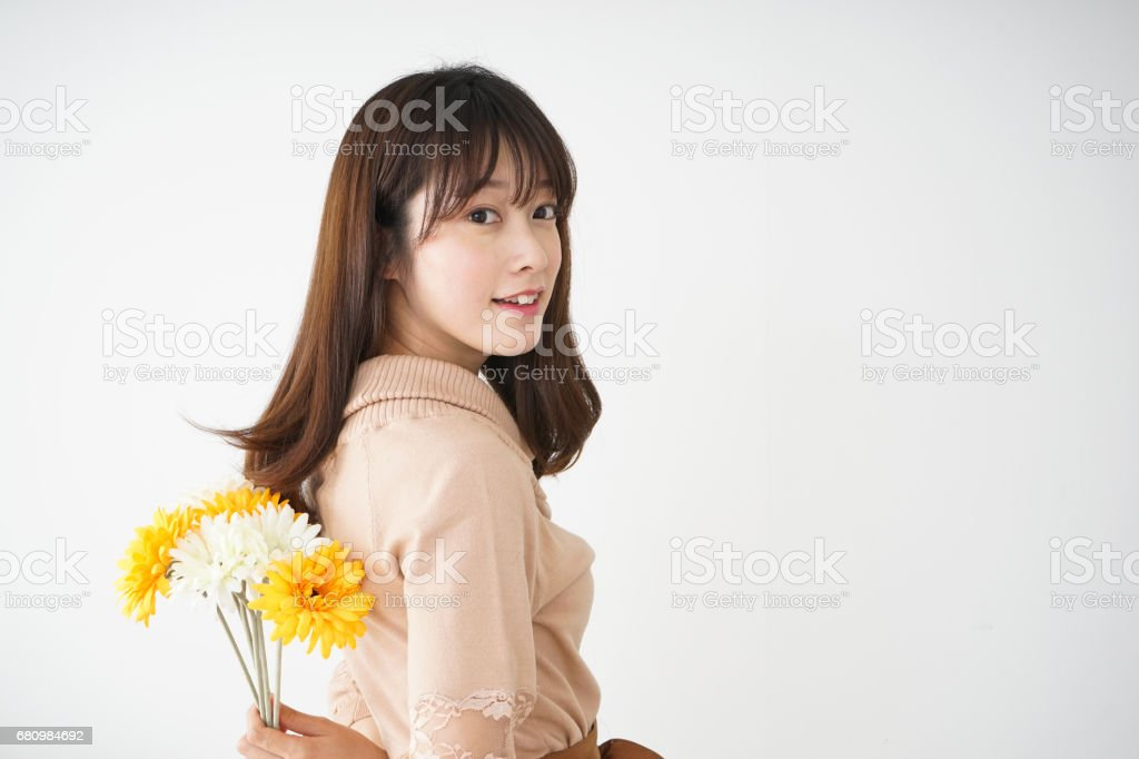 Young woman having flowers royalty-free stock photo