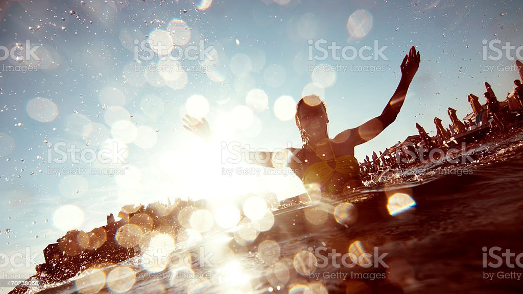 Young woman having fun stock photo