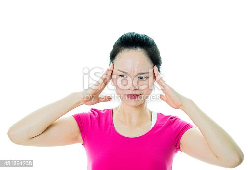 491747470 istock photo Young woman headache 481864238