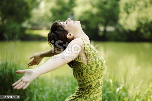 istock Young woman, her face upward, enjoying the sun 157292125