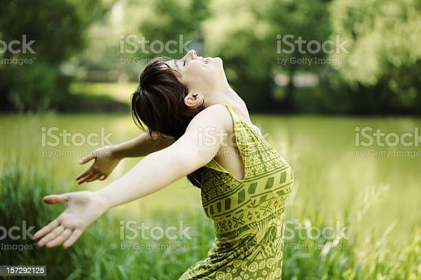 Young Woman Her Face Upward Enjoying The Sun Stock Photo - Download Image Now