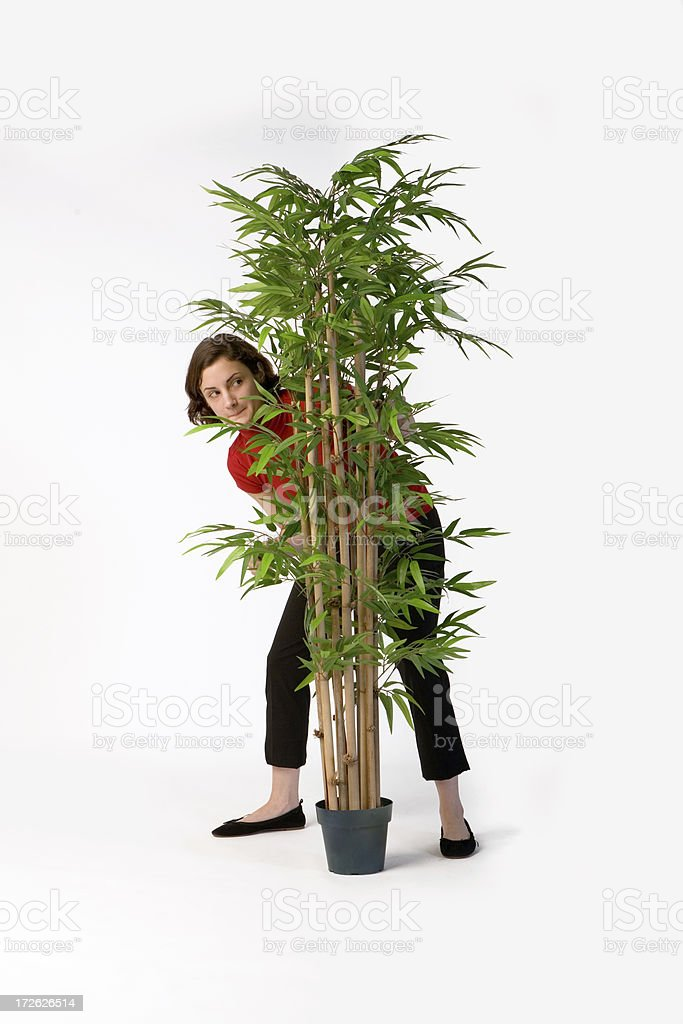 Young Woman Hiding Behind a Houseplant stock photo