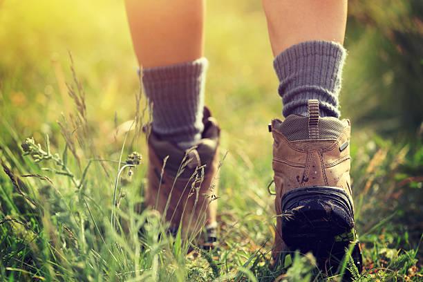 young woman hiker legs walking on trail in grassland – Foto