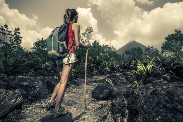 Young woman hiker stock photo