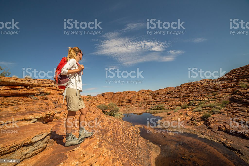 Young woman hiking in Australia stock photo