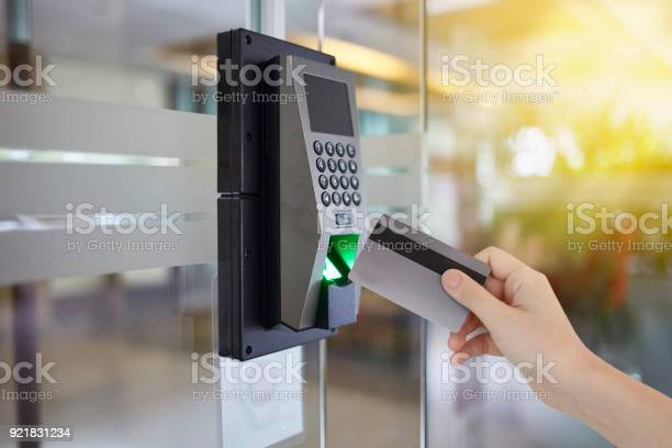 Young Woman Hold Key Card To Access Door Office Stock Photo - Download Image Now