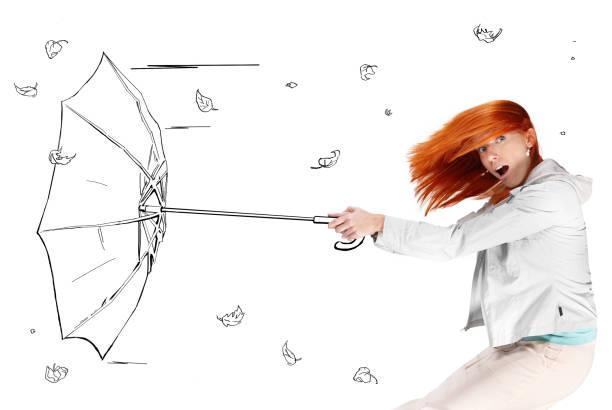 若い女性のカットイラスト、手吹き傘クール ストックフォト