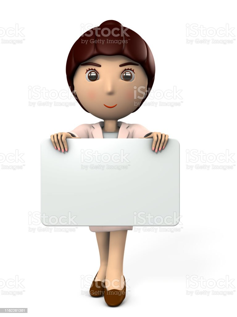 3D Asian Girl young woman holding a message board in front asian business