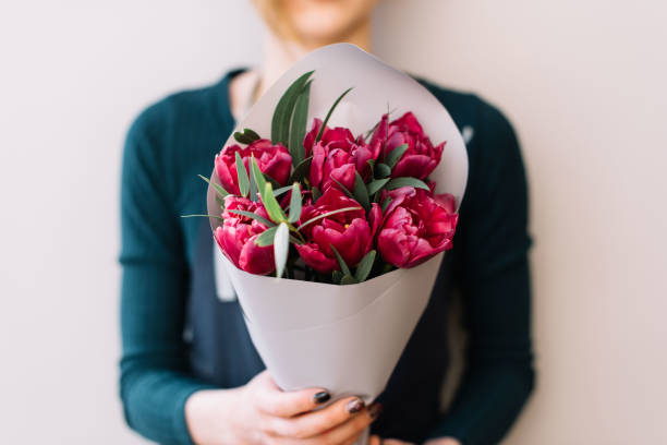 young woman holding beautiful fresh blossoming flower bouquet of purple tulips and pistachio branches - bouquet stock photos and pictures