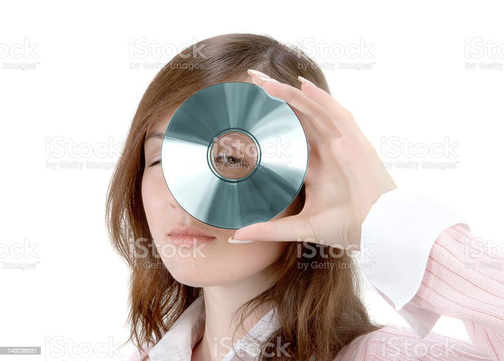Young Woman Holding Compact Disc royalty-free stock photo