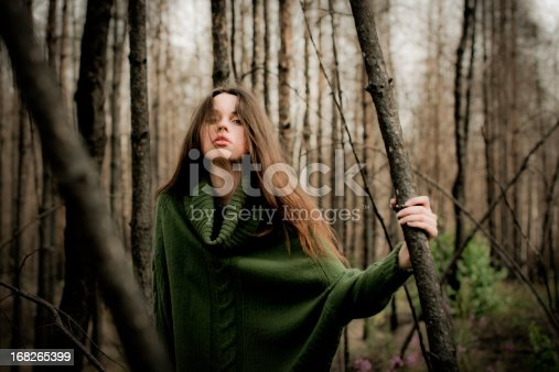 470521655 istock photo Young woman holding fallen tree in burned forest 168265399