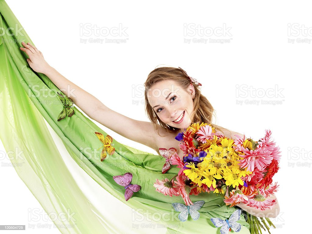 Young woman holding flowers. royalty-free stock photo