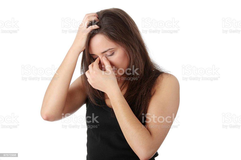 Terrible maux de tête photo libre de droits