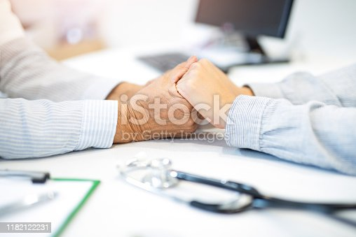 667827758 istock photo Young woman holding her supportive doctor's hands close up. 1182122231