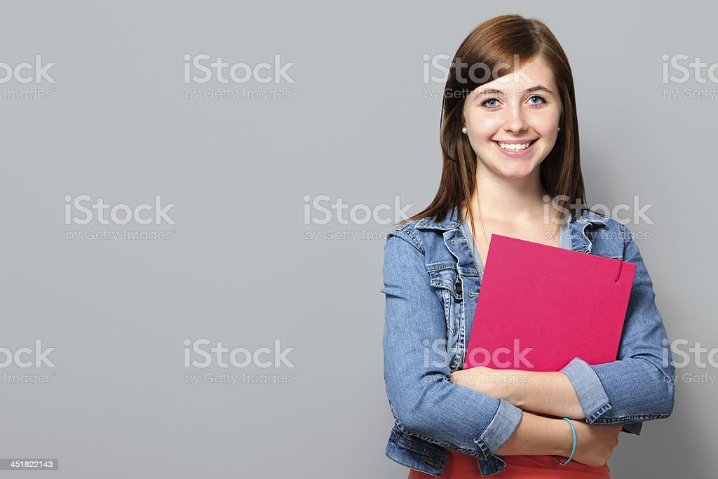 Young woman holding job application stock photo