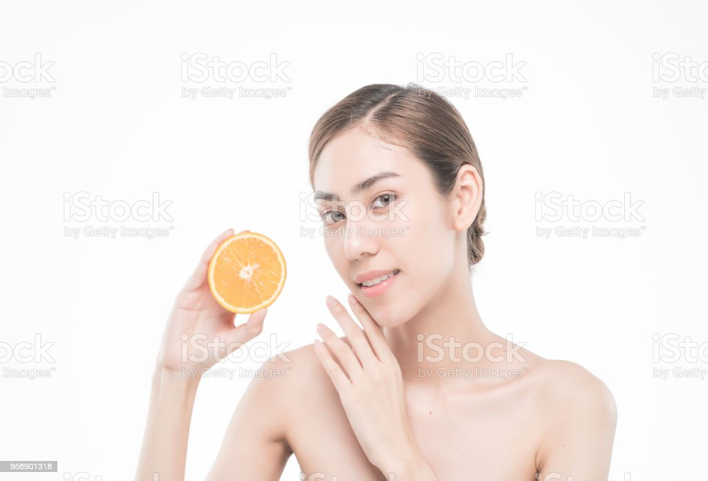 Young Woman Holding Juicy Oranges Before Her Face Healthy