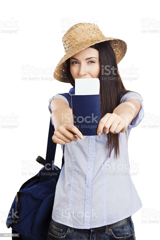 Young woman holding passport on holiday royalty-free stock photo