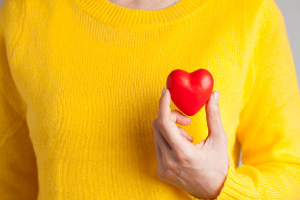 Young woman holding red heart, health insurance, donation, love concept Female hand holding red heart, Love concept for valentines day with sweet and romantic moment healthy heart stock pictures, royalty-free photos & images