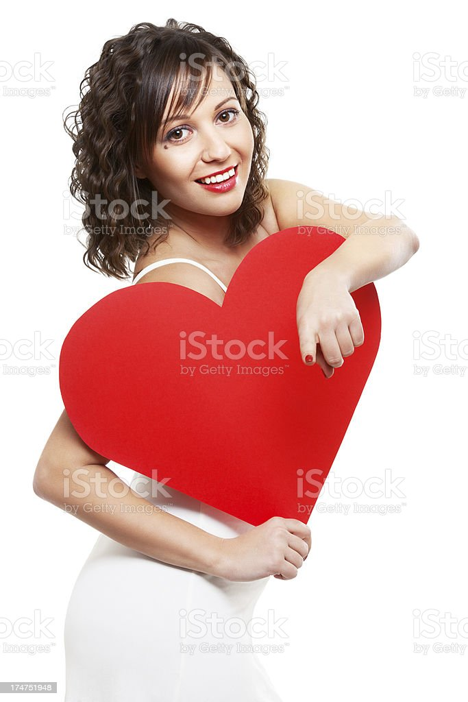 Young woman holding red paper heart royalty-free stock photo