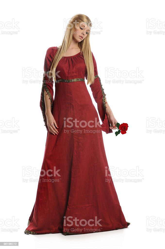 Young Woman Holding Red Rose stock photo