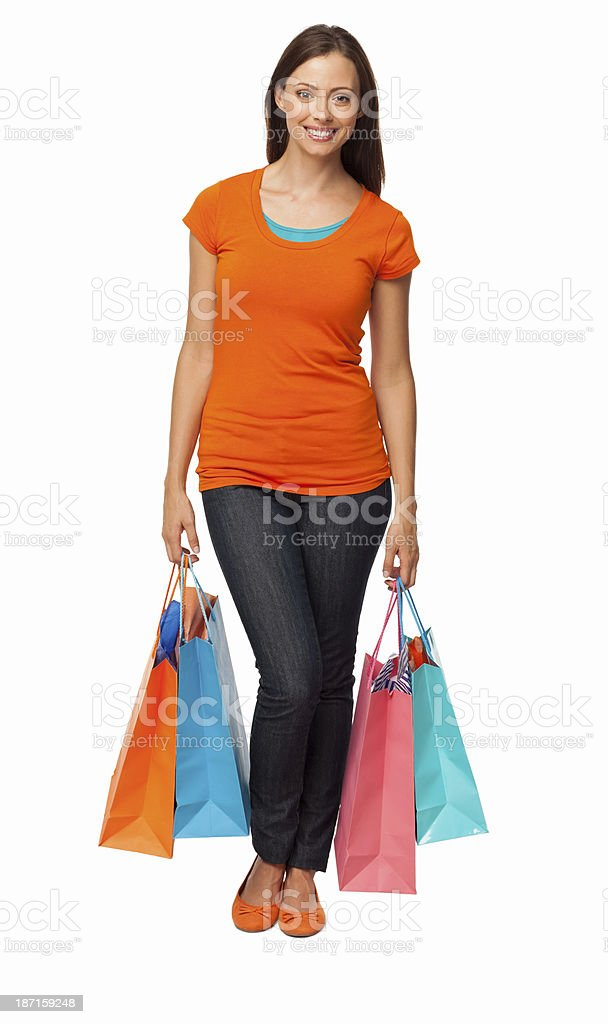 Young Woman Holding Shopping Bags - Isolated royalty-free stock photo