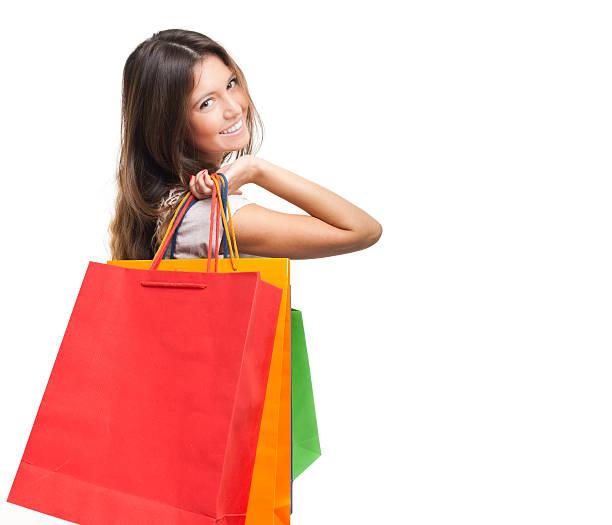 Junge Frau holding Einkaufstaschen – Foto
