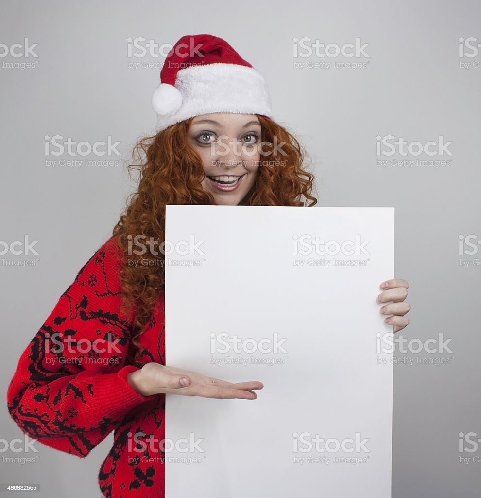 Young woman holding sign royalty-free stock photo
