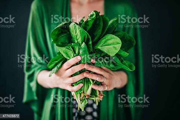 Young woman holding spinach leafs salad picture id477423372?b=1&k=6&m=477423372&s=612x612&h=h26tdmswpbo1gugavapwejaoy5dstsqjhmqhgwvglji=