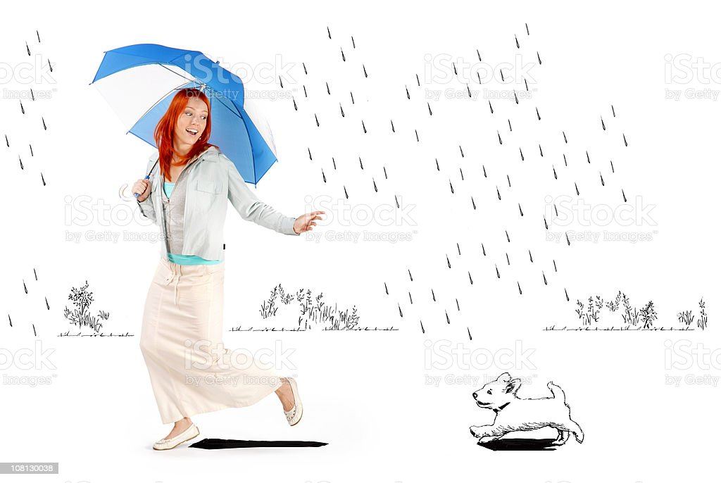 Young Woman Holding Umbrella Running in Cartoon Rain with Dog royalty-free stock photo