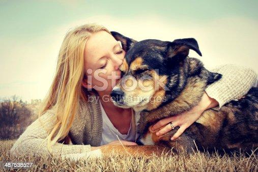 istock Young woman hugging and kissing German Shepherd 487538527
