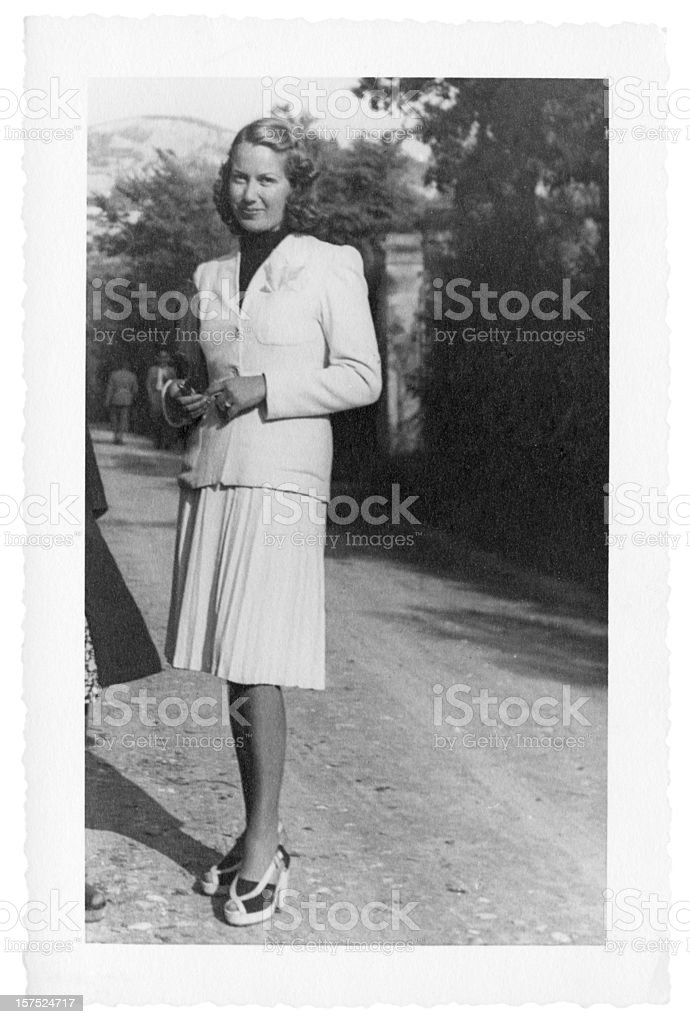 Young Woman in 1941.Black And White royalty-free stock photo