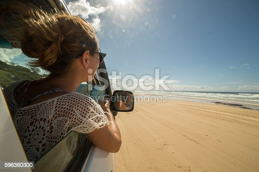 Young Woman In 4x4 Reads A Road Map Fraser Island Stock Photo & More Pictures of 20-29 Years